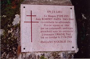 Plaque maquis Jean Robert et Faïta